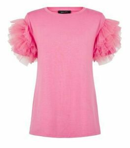 Mid Pink Mesh Ruffle Sleeve T-Shirt New Look