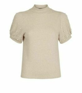 Cream Faux Pearl High Neck T-Shirt New Look
