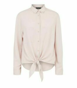 Mid Pink Tie Front Long Sleeve Shirt New Look