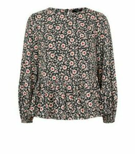 Petite Black Floral Puff Sleeve Blouse New Look