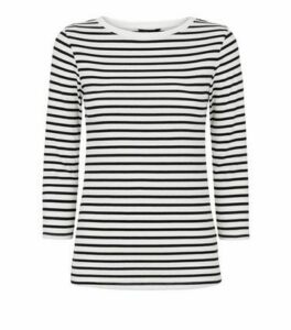 White Stripe Ribbed 3/4 Sleeve T-Shirt New Look
