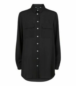 Black Utility Pocket Long Sleeve Shirt New Look