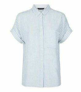 Blue Stripe Pocket Front Short Sleeve Shirt New Look