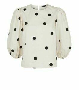 White Spot Puff Sleeve Poplin Top New Look