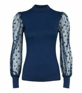 Navy High Neck Spot Mesh Sleeve Top New Look