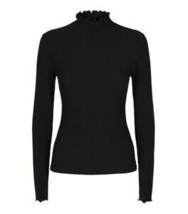 Black Ribbed Shirred Neck Long Sleeve Top New Look