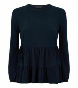 Navy Tiered Peplum Hem Ribbed Top New Look