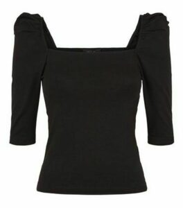 Black Square Neck Puff Sleeve Top New Look