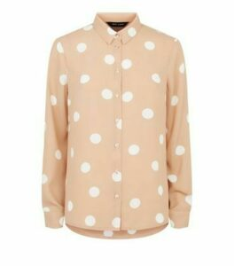 Light Brown Spot Long Sleeve Collared Shirt New Look