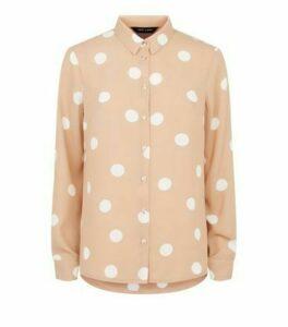 Light Brown Spot Long Sleeve Collared Shirt New Look