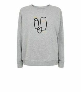 Grey Sketch Face Graphic Sweatshirt New Look