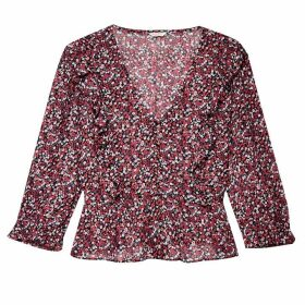 Jack Wills Kimmy Printed Georgette Blouse - Navy