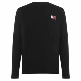 Tommy Jeans Badge Flag Long Sleeve T Shirt - Tommy Black