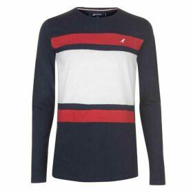 Kangol Long Sleeve T Shirt Mens - Navy Stripe
