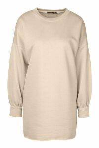 Womens Petite Volume Sleeve Sweatshirt Dress - Cream - 14, Cream