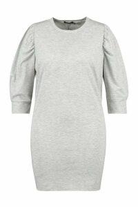 Womens Plus Puff Sleeve Sweat Dress - Grey - 16, Grey