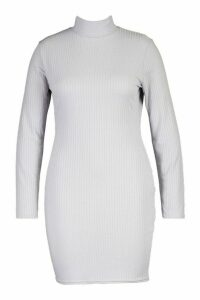 Womens Plus Jumbo Rib High Neck Bodycon Dress - grey - 26, Grey