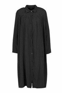 Womens Polka Dot Pleat Front Shirt Dress - black - 14, Black