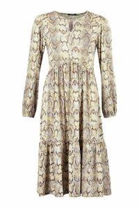 Womens Snake Print Midi Smock Dress - Brown - 12, Brown