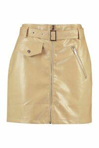 Womens Zip Detail Leather Look Mini Skirt - Beige - 16, Beige