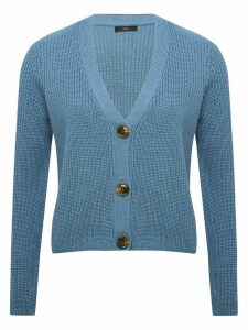Women's Ladies v neck cropped cardigan with long sleeve button front rib trims chunky knit