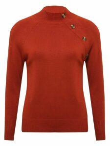 Women's Ladies long sleeve high neck button trim jumper