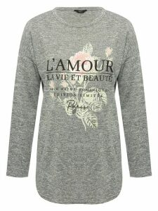 Women's Ladies grey long sleeve slogan t-shirt