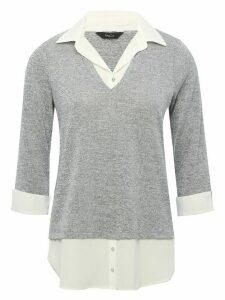 Women's Ladies grey two in one shirt jumper mock shirt v neck collar hem three quarter sleeves knit finish