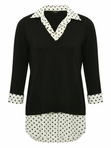 Women's Ladies black two in one shirt jumper with polka dot collar hem cuffs three quarter sleeves