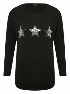 Women's Ladies petite jersey star print top