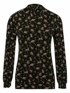 Women's Ladies long sleeve floral shirred neck top