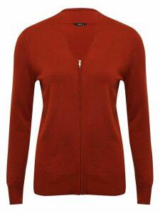 Women's Ladies long sleeve zip up cardigan v neck soft viscose blend plain zip through zip front