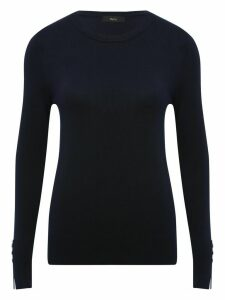 Women's Ladies jumper with crew neck and button cuff detail