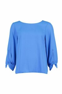 Womens Bow Sleeve Woven Blouse - blue - 10, Blue