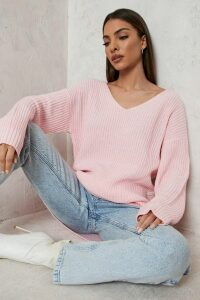 Womens Oversized V Neck Jumper - pink - XS, Pink