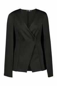 Womens Tall Button Detail Cape Blazer - black - 16, Black