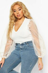 Womens Plus Organza Mesh Puff Sleeve Fitted Top - White - 24, White