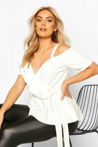 Womens Plus Plunge Ruffle Cold Shoulder Peplum Top - white - 16, White