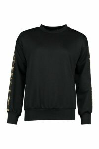 Womens Petite Leopard Stripe Sweat Shirt - black - 14, Black