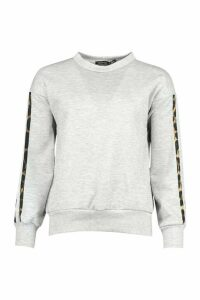 Womens Petite Leopard Stripe Sweat Shirt - Grey - 14, Grey