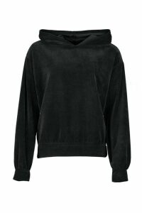 Womens Premium Velour Oversized Lounge Hoodie - black - 16, Black