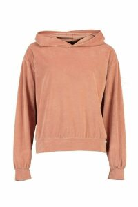 Womens Premium Velour Oversized Lounge Hoodie - pink - 10, Pink