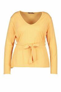 Womens Plus Jumbo Rib V-Neckt-Shirt - Orange - 20, Orange