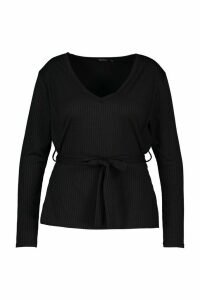 Womens Plus Jumbo Rib V-NeckT-Shirt - black - 24, Black