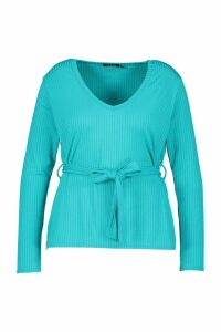 Womens Plus Jumbo Rib V-NeckT-Shirt - blue - 28, Blue