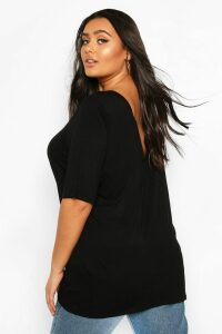 Womens Plus Basic V Back Oversized T-shirt - black - 20, Black