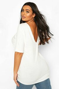 Womens Plus Basic V Back Oversized T-Shirt - White - 26, White