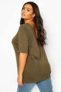Womens Plus Basic V Back Oversized T-shirt - green - 20, Green