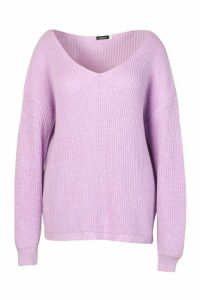 Womens Plus Oversized V-neck Jumper - purple - 20, Purple