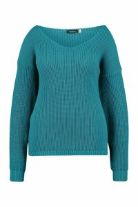 Womens Plus Oversized V-neck Jumper - green - 22, Green